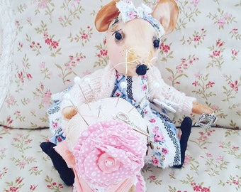 Mouse teddy toy with SEWING KIT cinderellas helpers fairytale Mouse gift