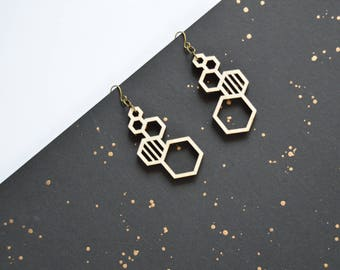 Hexagon Stud Earrings  - Hexagon Earrings - Hexagon Studs - Honeycomb Earrings - Laser Cut Wood Earrings - Ecofriendly Earrings - Wood Studs