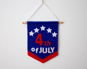 4th of July Felt Banner July 4th USA Banner Felt Banner Red White and Blue  Banner Fourth of July Bunting July 4th Decoration Memorial Day