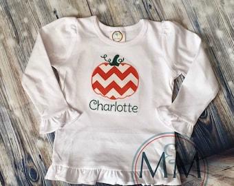 Chevron Applique Embroidered Pumpkin Shirt