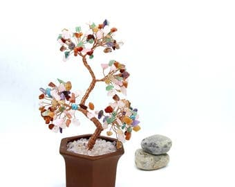 Chakra Wire Gemstone Tree Sculpture  Life of Tree Chakra Beads Lucky Tree Feng Shui Decor Tree Bonsai Yoga  Energy Healing Meditation Gift M