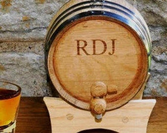 Monogrammed Mini Whiskey Barrel, Personalized Mini Whiskey Barrel