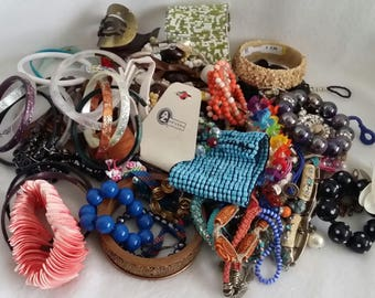 Just over 3 lbs Junk Drawer Destash broken Costume Jewelry Lot for crafting, harvest or repair Bead Soup Broken Bling Crafter's lot