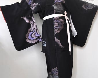 Black long kimono robe/vintage japanese silk kimono/authentic full length kimono gown dress/oriental/geisha/duster coat/boho jacket