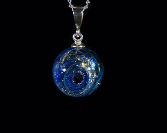 Galaxy necklace. Glass galaxy. Lampwork Galaxy jewelry. Glass Nebula. Glass space pendant. Lampwork space jewelry. Space style pendant.
