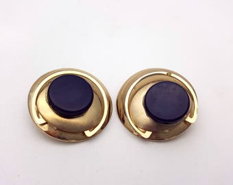 Vintage Clip on 80s Earrings Black Plastic Gold Tone Metal Round Stud New Wave Industrial Modernist Modern Retro Fashion Runway Feminine