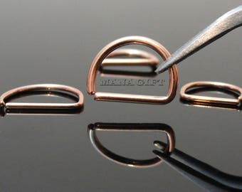 20G Rose Gold Annealed Ear Ring, D Shape Cartilage Ring, 8-10mm Septum Ring, Rose Gold Nose Ring, Annealed Surgical Steel Cut Rings,  H216