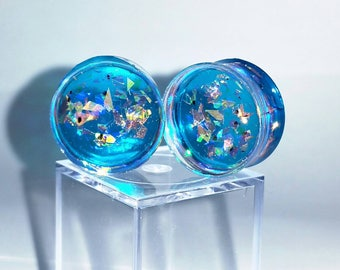 Teal Mermaid Plugs, Teal Plugs, Mermaid Plugs, Dichroic Plugs, Glitter Plugs, Ear Gauge, Ear Plugs Pair, Blue Plugs, Plug Earrings