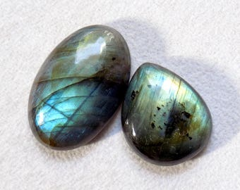 Blue Flash Fire Labradorite Stone, Genuine 2pcs 20mm Jewelry Making Labradorite Cabochon Gemstones