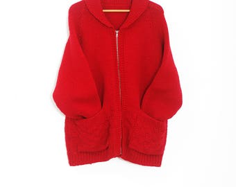 Vintage red cowichan sweater | Vintage cowichan cardigan | Knitted sweater | Vintage knit cardigan | XLarge red cardigan