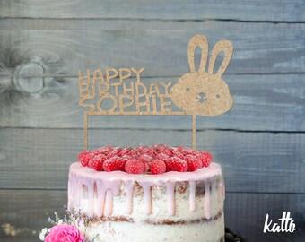 Bunny Birthday Cake Topper- Customizable Birthday Cake Topper- Rabbit Cake Topper- Silhouette Bunny Cake Topper- Personalized cake topper