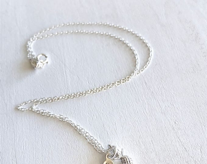 Personalized Pineapple Gift Jewelry, Pineapple Jewelry Necklace, Silver Pineapple Gift, Pineapple Charm Jewelry, Xmas Wife