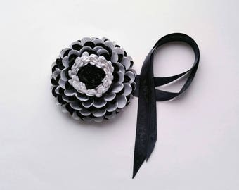 Flower wristband; Wedding wrist corsage; BLACK and WHITE