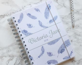Personalised 2018 A5 Planner/Diary with or without tabbed dividers - Purple Feathers