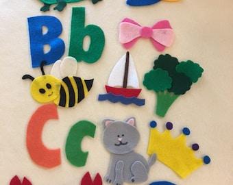 ABC Felt Board, Flannel Board, ABC's, Preschool, 52 Letters, 102 additional felt items - PDF Patterns Only