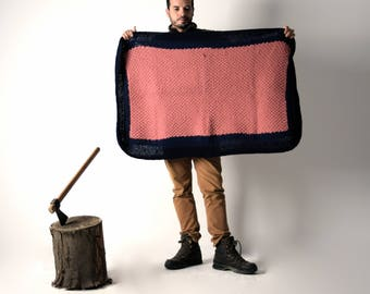 Colorful afghan, Knit blacket, Vintage blacket, Handmade blanket, Baby blanket, Throw Blanket, Wool afghan, Patchwork blanket, Throw