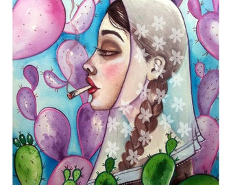 MAJORCAN smoke, POP surrealism, limited edition signed and numbered, Elsa Palmer's blade