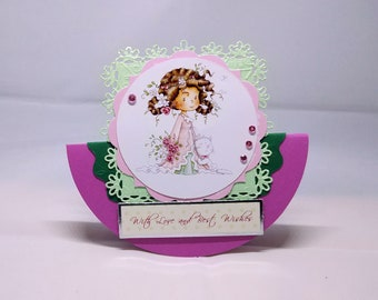 3D Wobbler Female - Little Girl with Cat and Flowers Birthday Card - luxury quality UK - Mum/Daughter/Sister/Aunt/Niece