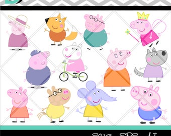 Peppa Pig Svg Bundle,cut file svg,Digital Files,Cricut design Space,Clipart,svg files, Peppa Pig shirt svg