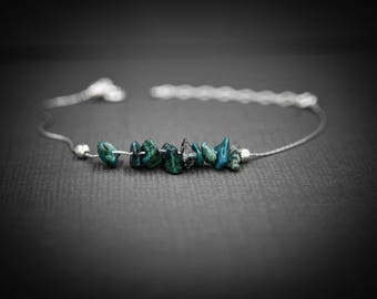 Chrysocolla Simple Anklet Anxiety Jewelry Calming bracelet Anxiety bracelet Dainty Anklets Beaded Anklet  Protective Gemstone Empath Anxiety