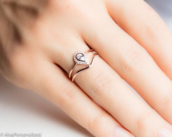 Pear Diamond Wedding Ring Set Unique Women