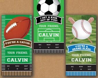 PRINTABLE Kids Valentine Cards, Sports Valentines, Valentines Day Cards Kids, Football Valentines, Soccer Valentines, Baseball Valentines