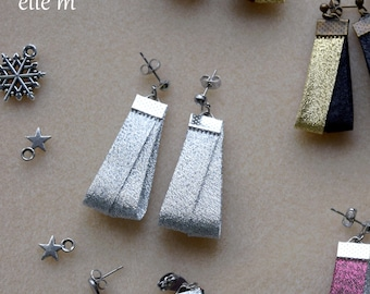 Silver lurex fabric, Christmas earrings