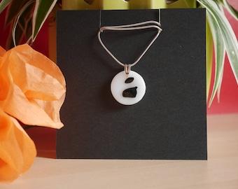 Fused black glass round pendant