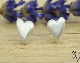 Earrings Silver 925 /-, heart, stroke Matt, handmade