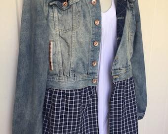 Denim jacket, upcycled, boho, hippie jacket, patriotic pattern