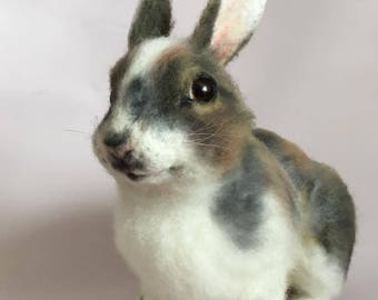 Felted Toy -rabbit-miniature rabbit sculpture- Needle felted rabbit