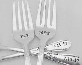 Mr Mrs handstamped vintage wedding forks, engagement silverware, custom with wedding date, bride and groom, personalized
