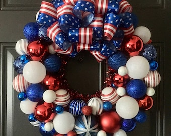 Red, White, & Blue Wreath, Patriotic, 4th of July