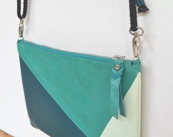 """Emerald green """"PANTAI"""" leather pouch, Peacock green and light green"""