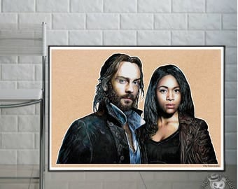 Sleepy Hollow - Tom Mison & Nicole Beharie - Fine Art Print - A4/A3