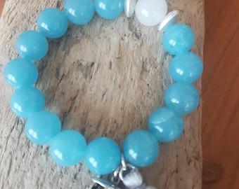 Bracelet - semi precious stone with Tuk-Tuk Silver Charm