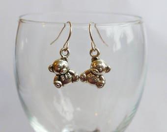 Teddy Bear Earrings Tibetan Silver Charms Bear Jewellery