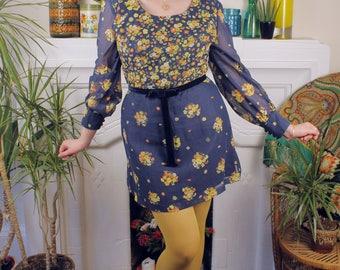Good Vibrations Vintage c. 1960's Mini Dress Flower Power Hippie Bohemian Psychedelic