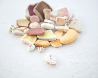 25x COLOURFUL SEAPOTTERY PIECES | Pink and yellow | Patterned sea pottery |  English beach finds | Ocean mosaic tile |  Fairy Garden decor