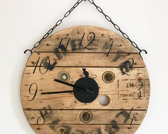 Large wooden clock, rustic clock, kitchen clock, farm house homeware, cable drum clock, wood clock, clocks for kitchen