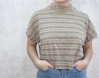 Vintage CP Shades Printed Turtleneck Sweater Top.