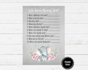 Who Knows Mommy Best Printable Games, Baby Shower Printable Games, Watercolor Baby Shower Games, Girl Baby Shower, Elephant Printable Games