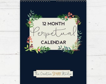 Christmas Presents For Her - Gift Ideas For Wife - Perpetual Calendar - Floral Office Wall Calendar - Gifts For Women - Unique Gift Ideas