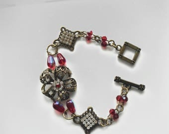 VINTAGE ASSEMBLAGE BRACELET Upcycled Created from Vintage Jewellery Boho Shabby Chic Red Crystal