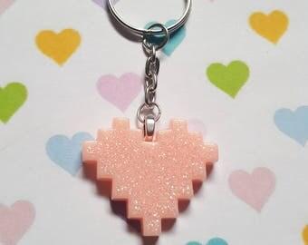 Pixel heart keyring, Pixel heart bag charm, Glitter heart keyring, Glitter keyring, Heart keyring, Heart, Pixel, Glitter, Gifts for geeks