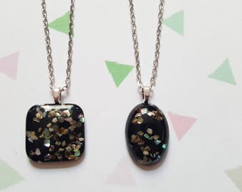 Glitter necklace, Oval necklace, Square necklace, Glitter pendant, Glitter shape necklace, Resin glitter pendant, Glitter, Oval, Square