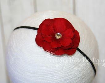 Red & Black Flower Headband, Baby Headband, Newborn Headband, Baby Girl Flower Headband, Baby Hair Accessories, Infant Headbands, Baby Bow