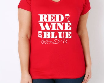 Red Wine and Blue Fourth of July tee