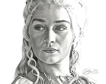 "8.5x11"" OR 11x17"" Print of Emilia Clarke as Daenerys Targaryen from GAME of THRONES"