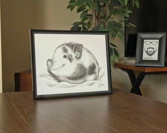"11x14"" Framed Original Graphite Drawing of Baby Piglet"